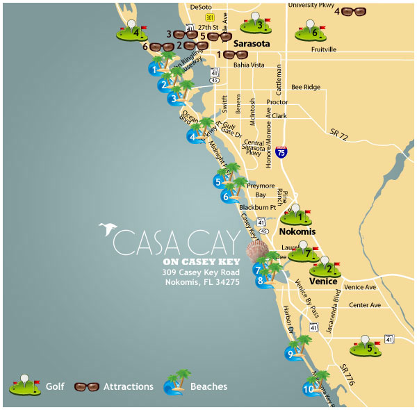 Map of the Beaches by Casa Cay